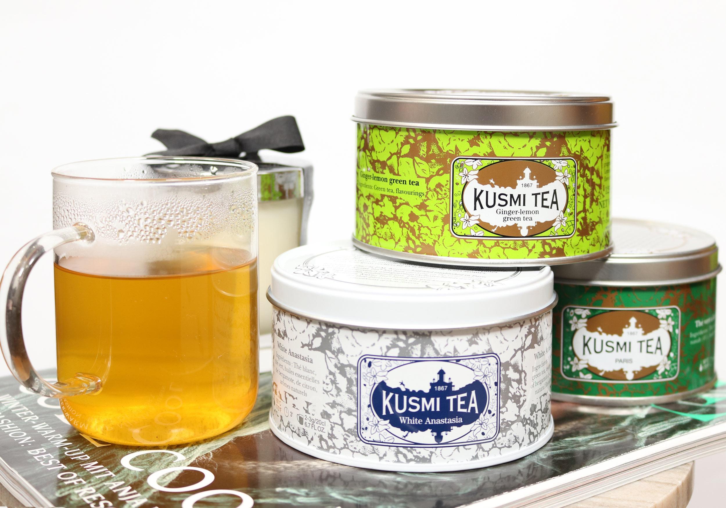 KUSMI TEA Ginger-Lemon, White Anastasia & Spearmint