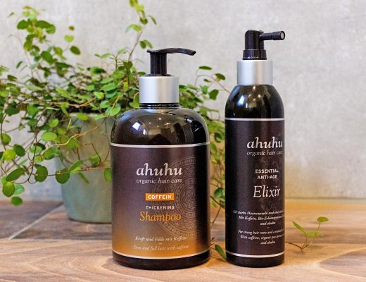ahuhu organic hair care COFFEIN Thickening Shampoo Essential Anti Aging Elixir