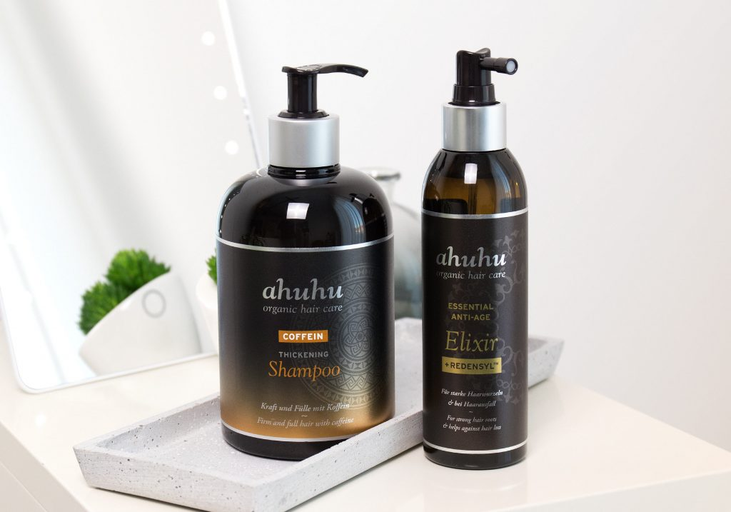 ahuhu organic hair care COFFEIN Thickening Shampoo & Essential Anti-Age Elixir Redensyl