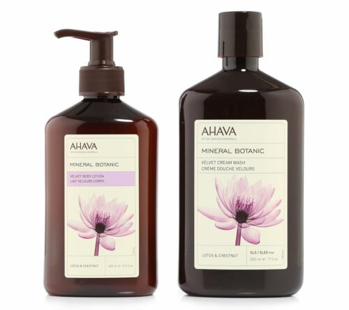 AHAVA Mineral Botanic Lotus & Chestnut Body Lotion 400ml Cream Wash 500ml