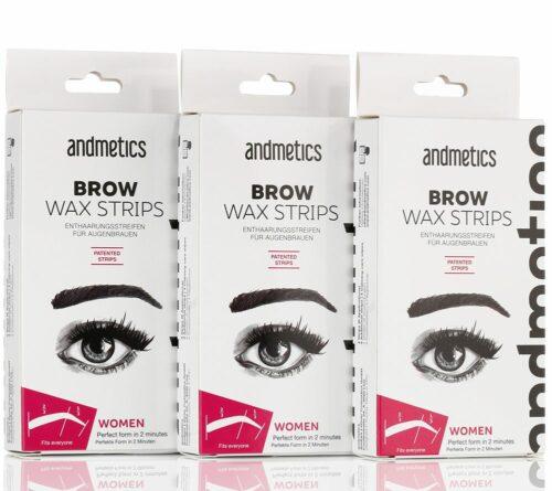 andmetics Brow Wax Strips Kaltwachsstreifen 3x 8 Anwendungen