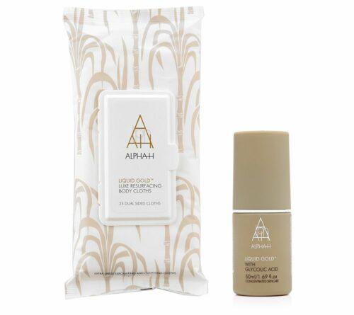ALPHA-H Liquid Gold Lotion 50ml & Luxe Resurfacing Body Cloth, 25 Stück