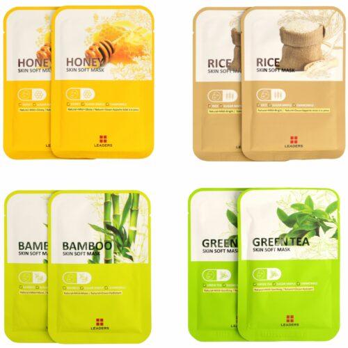 LEADERS Skin Soft Masken-Set, je 2 Stk. Honig, grüner Tee, Bambus & Reis