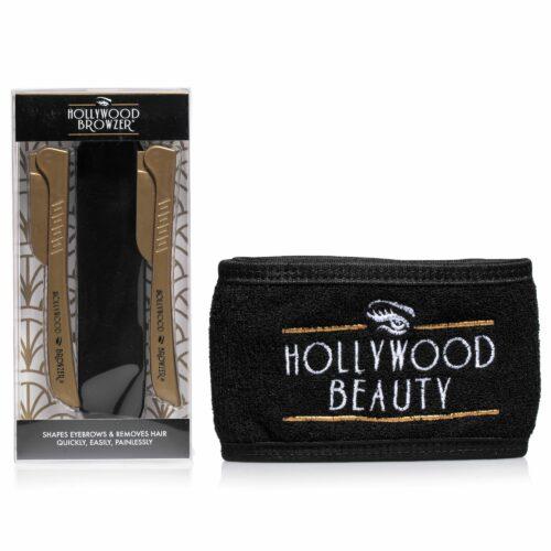 HOLLYWOOD BROWZER Haarentfernung & Dermaplaning im Doppelpack mit Haarband & Beutel