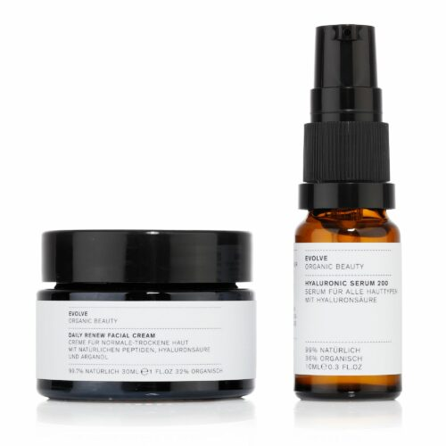 EVOLVE ORGANIC BEAUTY Daily Renew Facial Cream 30ml & Hyaluronic Serum 200 10ml