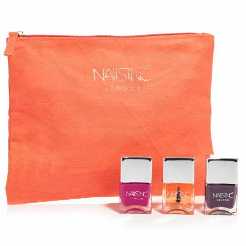 NAILS INC Nagel-Set mit Trendlacken & Kensington Topcoat 3x 14ml mit Tasche