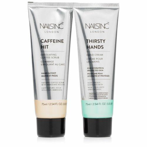 NAILS INC Hand Creme & Koffein Peeling mit Vitamin B5 & Arganöl 2x 75ml