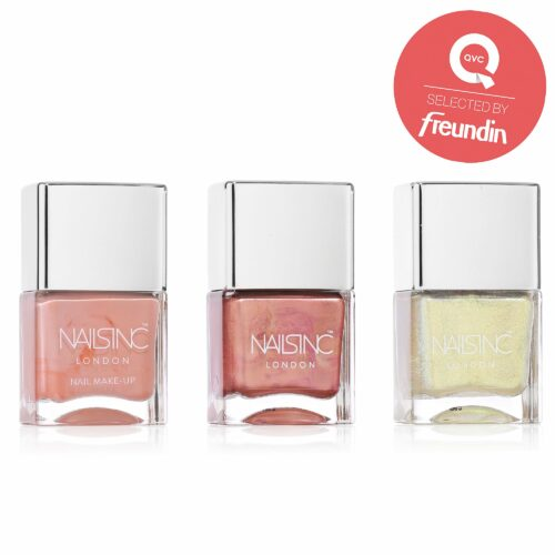 NAILS INC Metallic Nagellack mit roséfarbener Box 3x 14ml