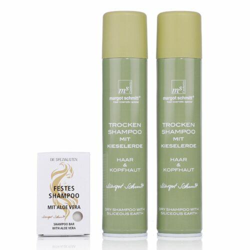 MARGOT SCHMITT® Sensitiv Trocken- shampoo 2x 200ml & festes Shampoo 65g