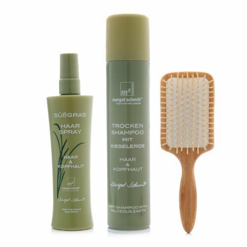 MARGOT SCHMITT® Sensitiv Süßgras Trockenshampoo 200ml Haarspray 200ml Bambus Paddelbürste