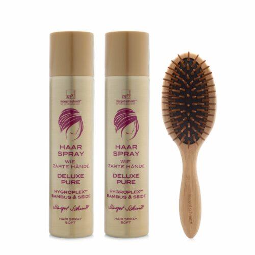 MARGOT SCHMITT® Deluxe Pure Haarspray Zarte Hände 2x 300ml mit Bambusbürste