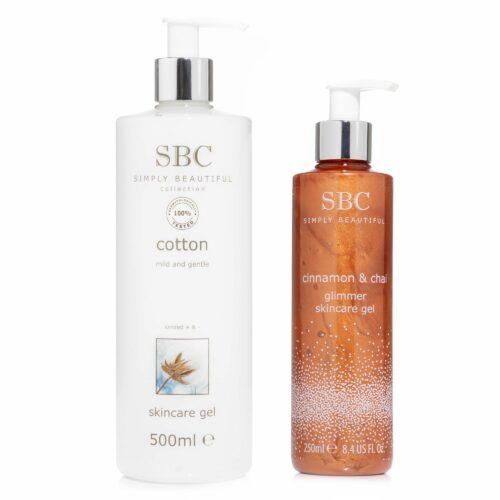SBC Skincare Gel Zimt 250ml& Chai und Baumwolle 500ml