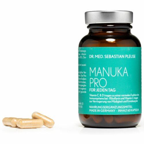 Dr. med. Sebastian Pleuse Manuka Pro mit Vitamin C, D3 & B2 60 Kapsel für 30 Tage