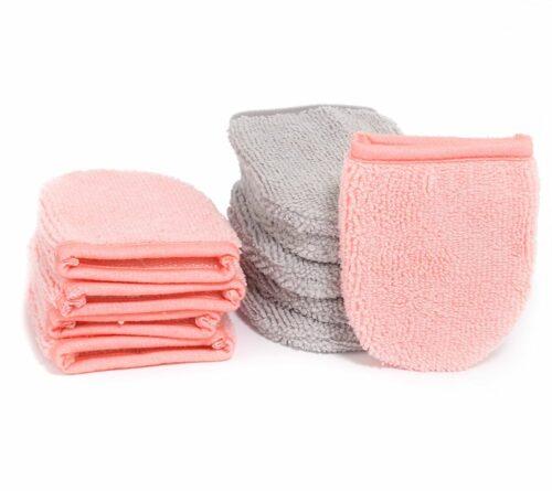 BADIZIO Beauty Mikrofaser Handschuhe 10 Stück grau & koralle