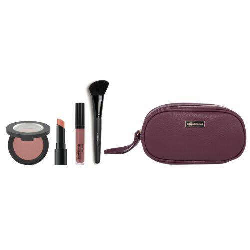 bareMinerals® Unwrap Nudes 5tlg. Lippenstift & Blush & Lip Lacquer & Pinsel & Kosmetiktasche