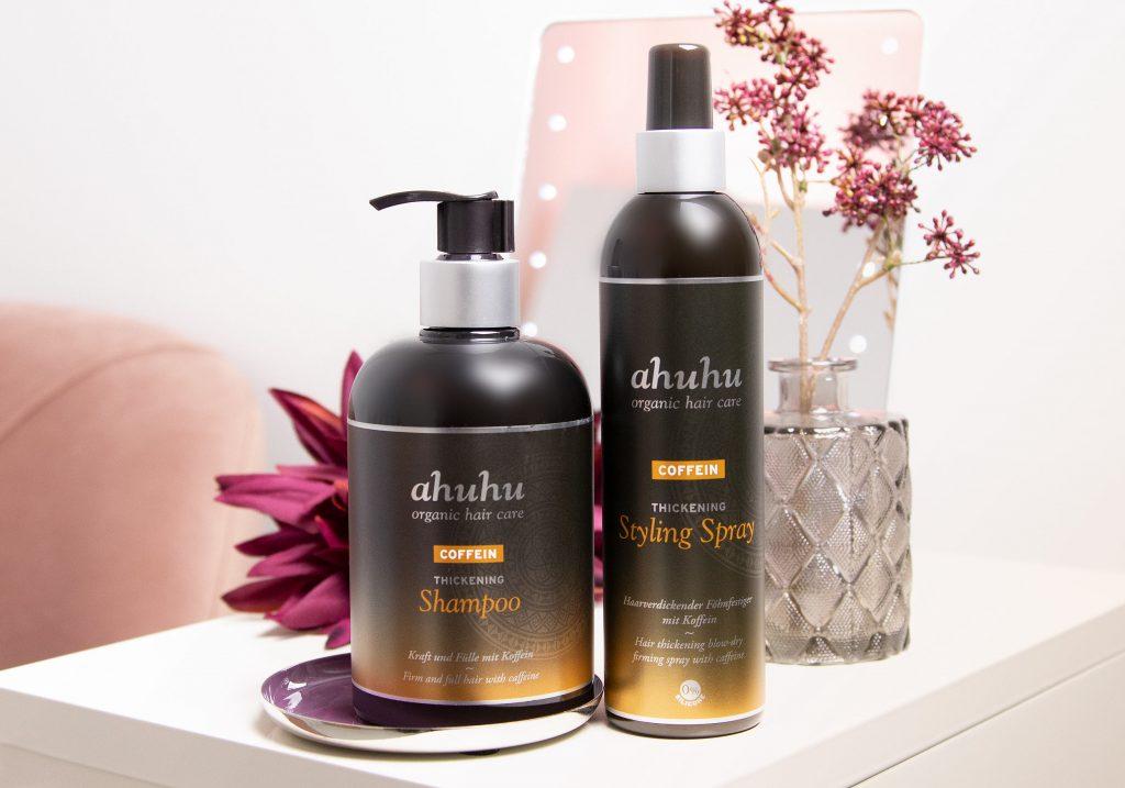 ahuhu organic hair care COFFEIN Thickening Shampoo & Styling Spray