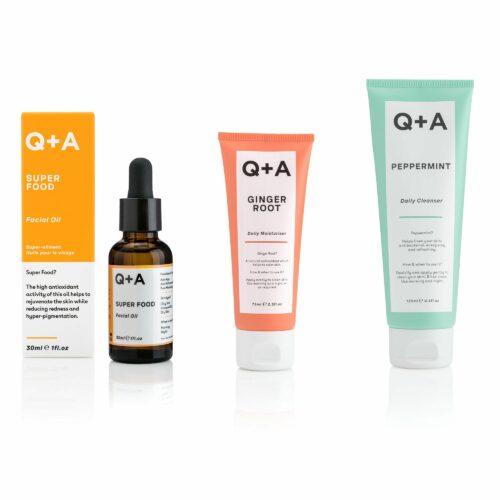Q+A Reiniger 125ml, Gesichtsöl 30ml & Feuchtigkeitscreme 75ml