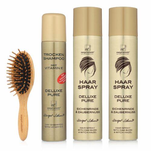 MARGOT SCHMITT® Deluxe Pure Trockenshampoo 200ml, Haarspray 2x 300ml & Bambusbürste
