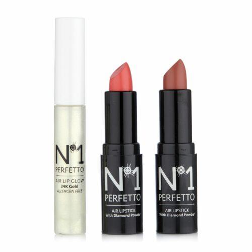 PERFETTO NO 1 Lippen-Set Lippenstift 2x 4,5g Lipgloss 1x 9ml