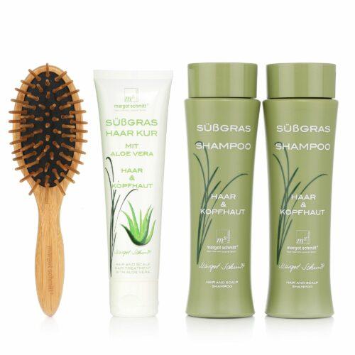 MARGOT SCHMITT® Sensitiv Süßgras Shampoo 2x 200ml Aloe Vera Haarkur 100ml und Bürste