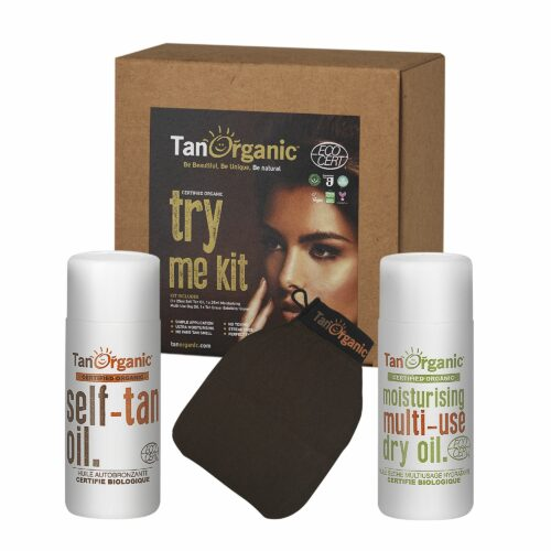 TANORGANIC Self Tan Oil 25ml, Moisturising Multi Use Dry Oil 25ml & Peelinghandschuh