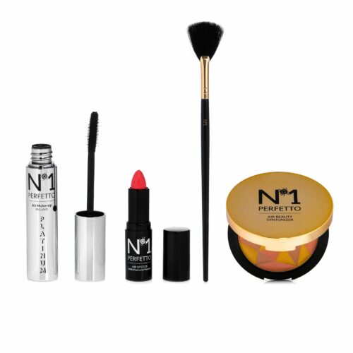 PERFETTO NO 1 Make-Up Set Highlighter & Mascara Lippenstift 4tlg mit Pinsel