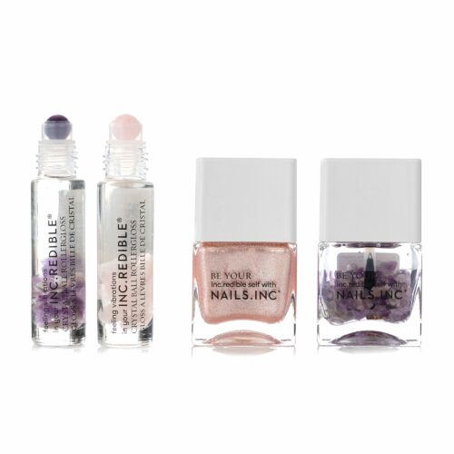 NAILS INC Nagel-& Lippenset Nagellack, Topcoat 2x Lippenroller mit pflegenden Kristallen