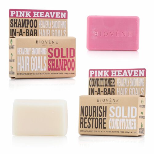BIOVÈNE® Pink Heaven Nourish Restore festes Shampoo fester Conditioner je 120g