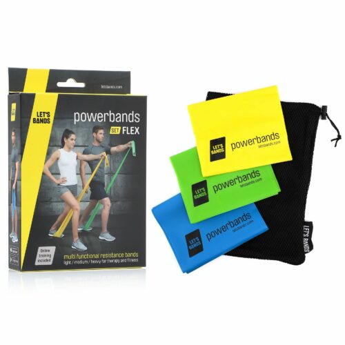 LET'S BANDS PowerBands Set Flex 3 Trainingsbänder inkl. Mesh Carry Bag
