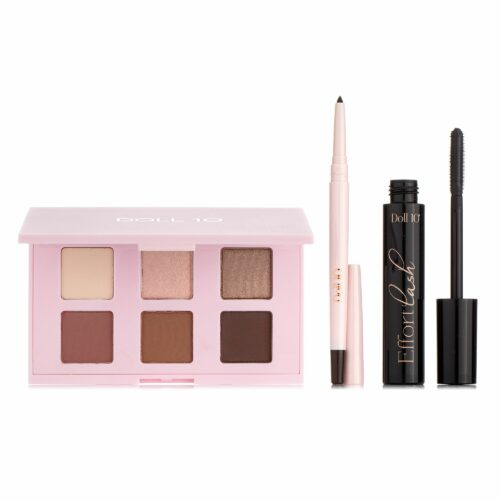 DOLL 10 BEAUTY Make-Up Set Lidschattenpalette Effortlash XL Mascara Eyeliner in braun