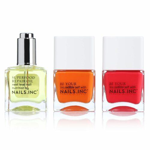 NAILS INC Nagellack & Pflege- Set mit sommerlichen Farben 2x 14ml & Pflegeöl 14ml