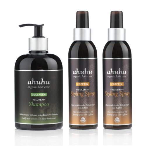 ahuhu organic hair care Volumen Shampoo 500ml Coffein Styling Spray 2x 200ml