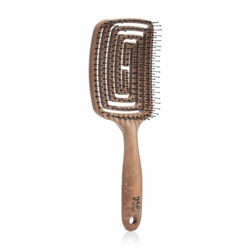 YAO HAIRBRUSH® Bewegliche recht eckige Bürste mit Nylonborsten in Holzoptik