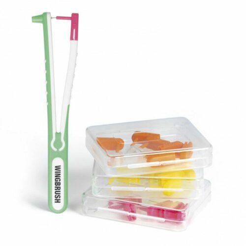 WINGBRUSH Interdentalbürste zur Zahnzwischenraum- reinigung Starter-Set mit 3 Bürsten