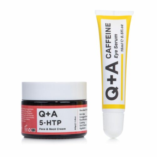 Q+A Caffeine Eye Serum & 5-HTP Face & Neck Cream 2tlg. Set