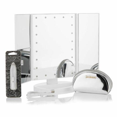 LA-TWEEZ Eco-Tweezer mit LED-Licht, Pouch & ausklappbarem LED-Kosmetikspiegel