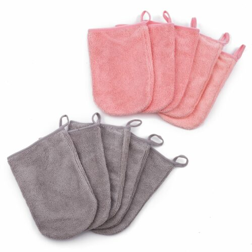 BADIZIO Beauty Mikrofaser XL-Handschuhe grau & koralle 10tlg.