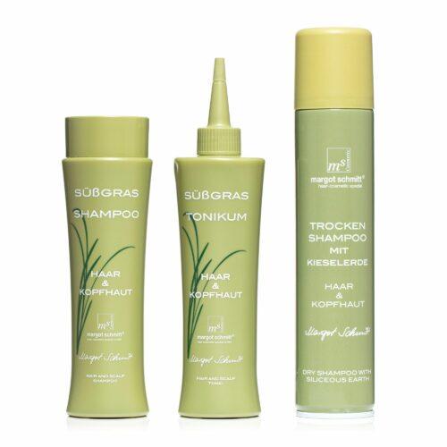 MARGOT SCHMITT® Sensitiv Süßgras Shampoo, Tonikum Trockenshampoo je 200ml