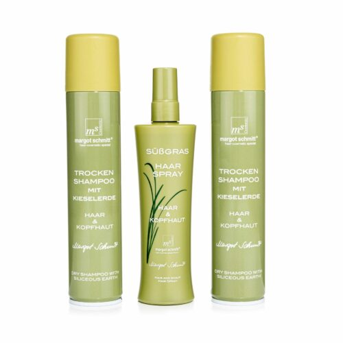 MARGOT SCHMITT® Sensitiv Süßgras Trockenshampoo 2x 200ml & Haarspray 200ml