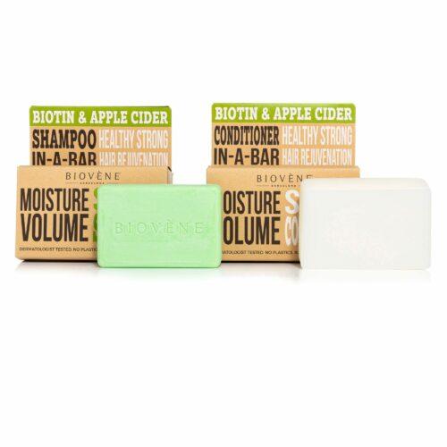 BIOVÈNE® Biotin & Apple Cider Feuchtigkeit Volumen festes Shampoo fester Conditioner je 120g
