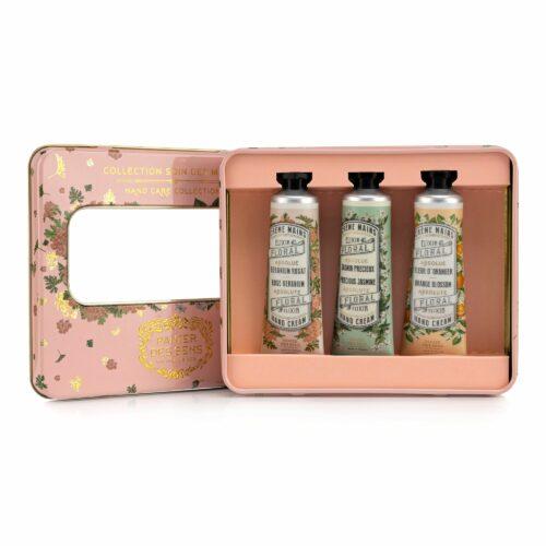 PANIER DES SENS Handcreme-Geschenkbox Jasmin, Orangenblüte & Rose Geranium 3x 30ml