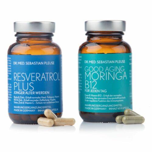 Dr. med. Sebastian Pleuse Resveratrol Plus & GoodAging Moringa B12 2x 60 Kapsen, 30 Tage