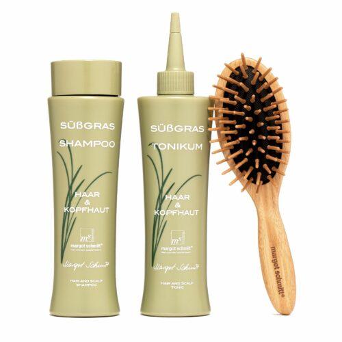 MARGOT SCHMITT® Sensitiv Süßgras Shampoo 200ml Süßgras Tonikum 200ml kleine Bürste