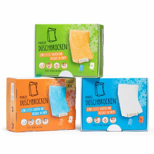 DUSCHBROCKEN festes Shampoo & Duschgel 3tlg. Set Frucht, Minze & Kokosnuss Refill