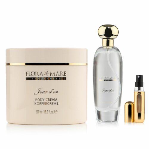 FLORA MARE™ Jour D'Or Eau de Parfum 100ml, Body Lotion 500ml & Taschenzerstäuber