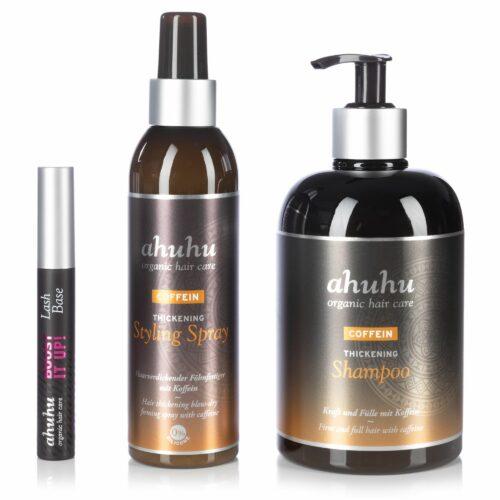 ahuhu organic hair care Coffein Shampoo 500ml Styling Spray 200ml Lash Base 10ml