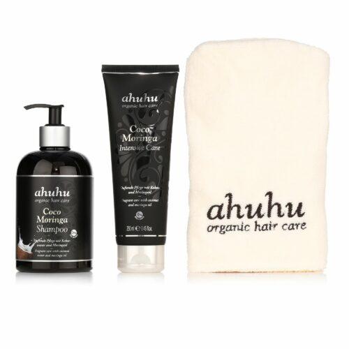 ahuhu organic hair care Coco Moringa Shampoo 500ml, Intensive Care 250ml & inkl. Turban