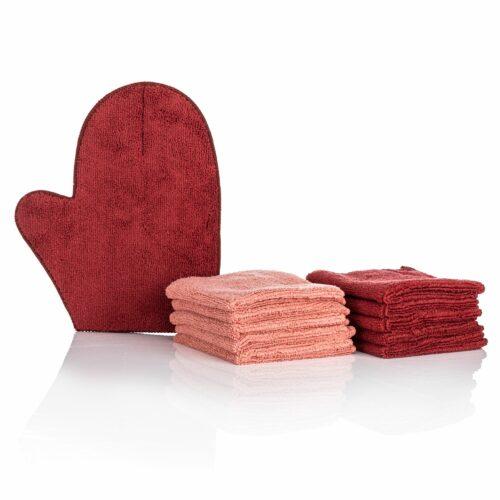 BADIZIO Beauty Gesichtsreinigungsset Mikrofasertücher 10tlg. & Reinigungs- Handschuh