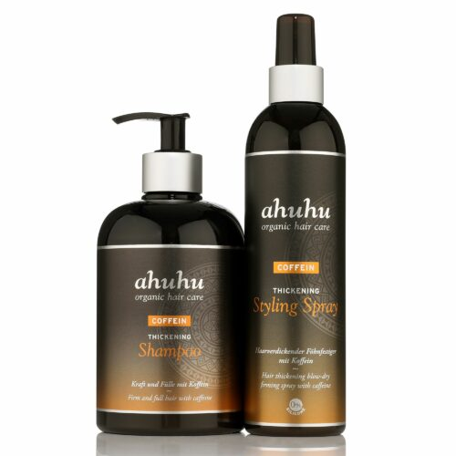 ahuhu organic hair care Coffein Shampoo 500ml & Styling Spray 300ml Sondergrößen