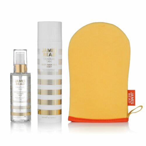 JAMES READ Coconut Water Tan Mist Face 100ml, Sleep Mask Tan Body 200ml & Applikator